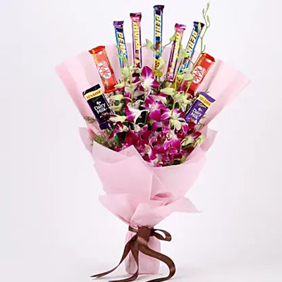 True Feelings- Purple Orchids & Chocolate Bouquet