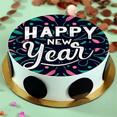 Happy New Year Pineapple Photo Cream Cake