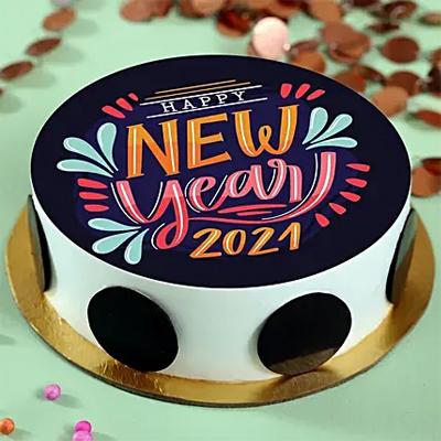 New Year Pineapple Photo Cream Cake