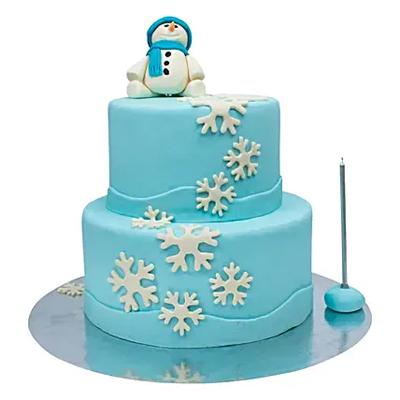 Two Tier Snowman Truffle Cake