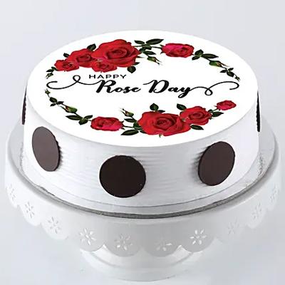 Rose Day Photo Cake- Pineapple