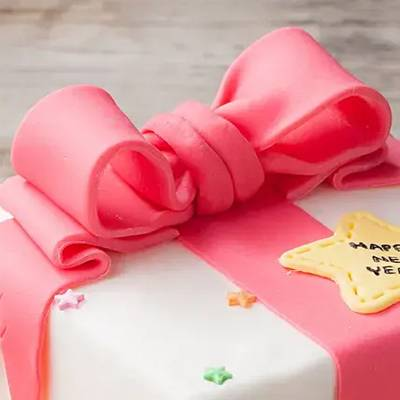Pink Gift Wrap Designer Chocolate Cake 1 Kg