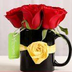 Black Mug of Red Roses