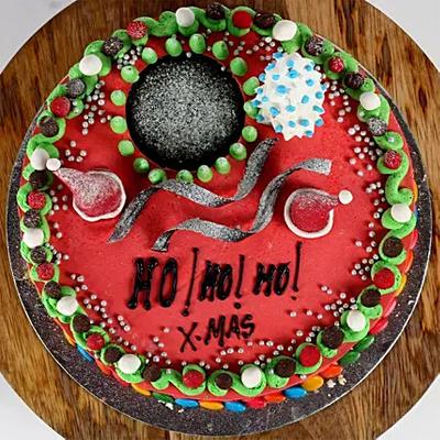 Decorated Xmas Chocolate Cake
