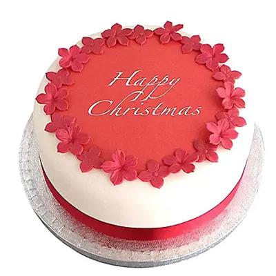 Red N White Christmas Fondant Cake Chocolate