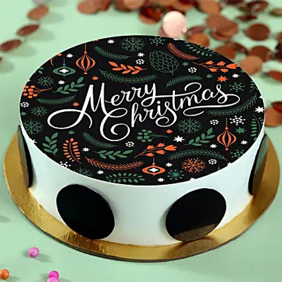 Merry Christmas Pineapple Photo Cake