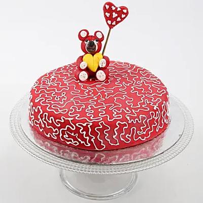 Teddy Hearts Chocolate Cake