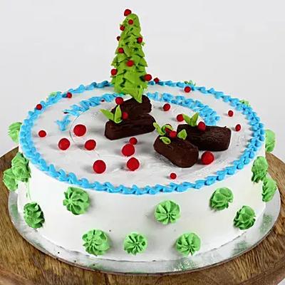 Christmas Tree Theme Chocolate Cake