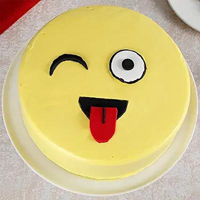 Wink Emoji Semi Fondant Chocolate Cake