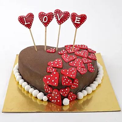 Valentine Red Hearts Chocolate Cake
