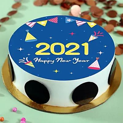 Designer New Year Pineapple Photo Cake