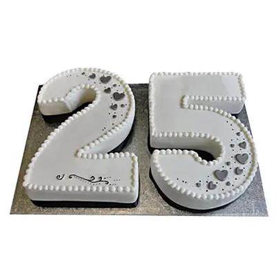 Silver Jubilee Fondant Cake Chocolate