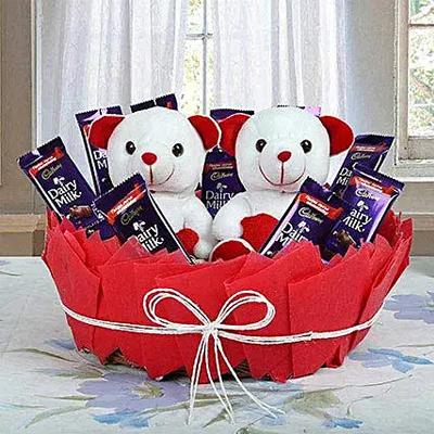 Chocolatey Basket of Teddy Bears