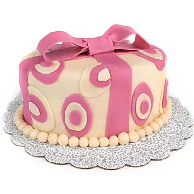 Designer Pink Bow Chocolate Cake