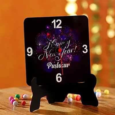 Personalised Happy New Year Table Clock