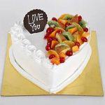 Heart Shaped Vanilla Fruit Cake- Half Kg