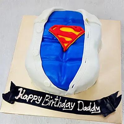 Superman Special Truffle Fondant Cake
