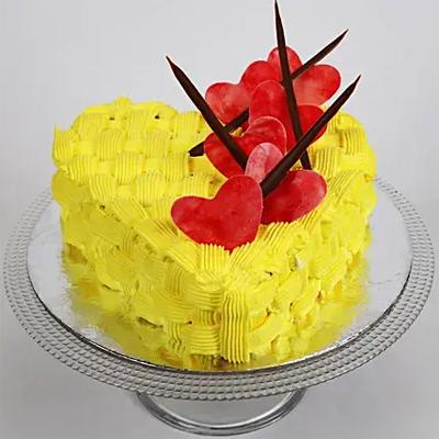 Decorated Hearts Chocolate Cake