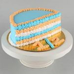 Lovely Blue & Beige Half Cake- 500 Gms