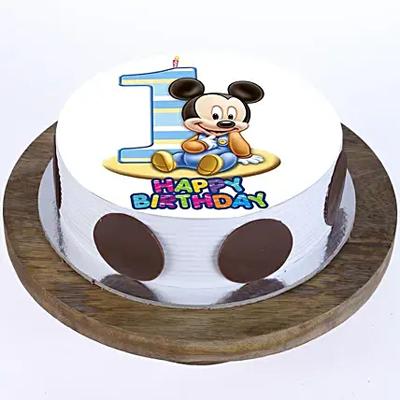 Mickey Mouse 1st Bday Butterscotch Cake