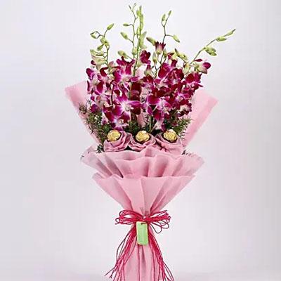 Purple Orchids & Ferrero Rocher Bouquet