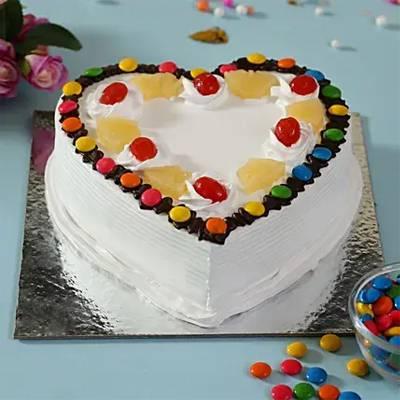 Heart Shaped Pineapple Gems Cake