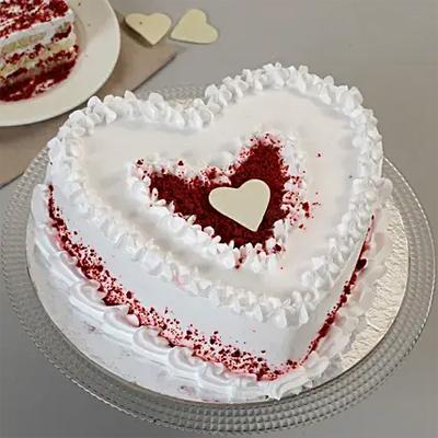 Red Velvet Cream Heart Cake