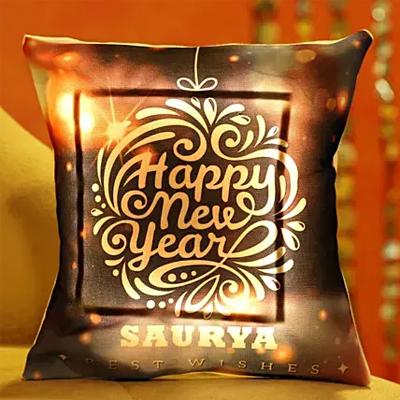 Colourful Happy New Year Personalised LED Cushion