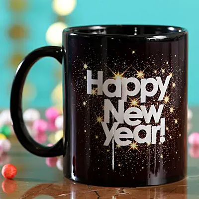 Printed Happy New Year Black Mug