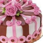 Decorated Pink Roses Chocolate Cake 1 Kg