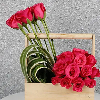 Dark Pink Roses Wooden Base Arrangement
