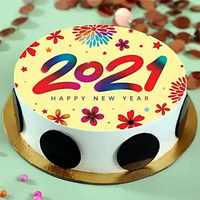 Delicious New Year Pineapple Cream Photo Cake