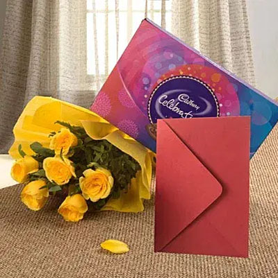 Flower Hamper N Greeting Card