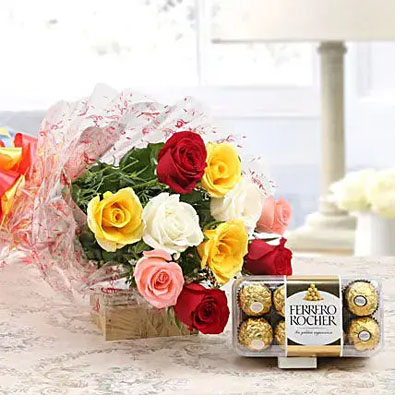 Mixed Roses And Rocher Combo
