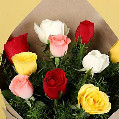 Red N White Roses Flower Bouquet