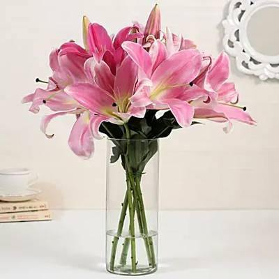 5 Pink Oriental Lilies in Glass Vase