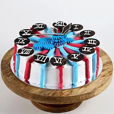 Red & Blue Clock Chocolate Cake