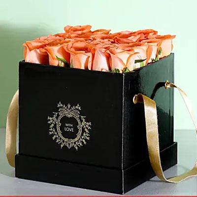 Elegant Box Of Orange Roses