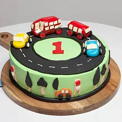 Race Track First Birthday Vanilla Cake 1 Kg