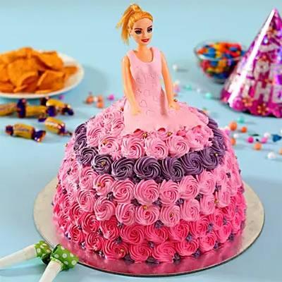Barbie in Floral Roses Cake Vanilla 2kg