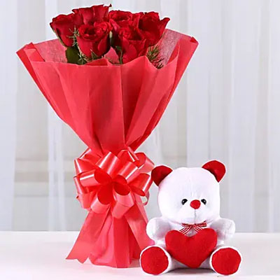 Red Roses Bouquet & Teddy Bear Combo