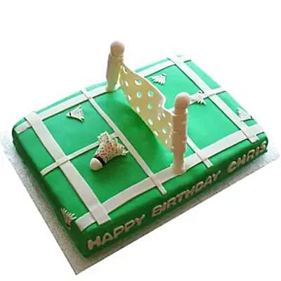 Smashing Badminton Court Cake