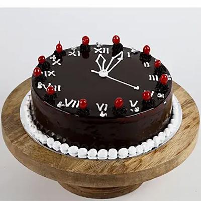 New Year Clock Chocolate Cake