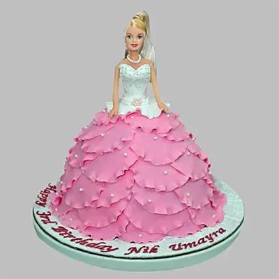 White N Pink Barbie Cake