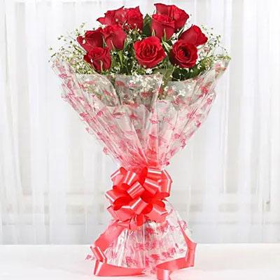 Velvety 12 Red Roses Bunch