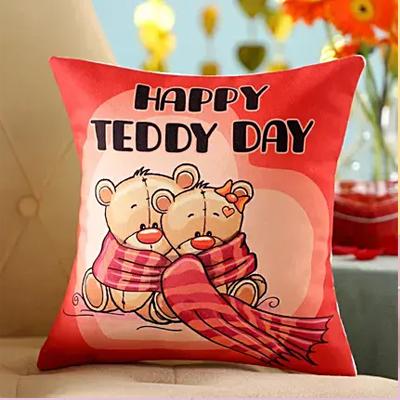 Teddy Day Printed Cushion