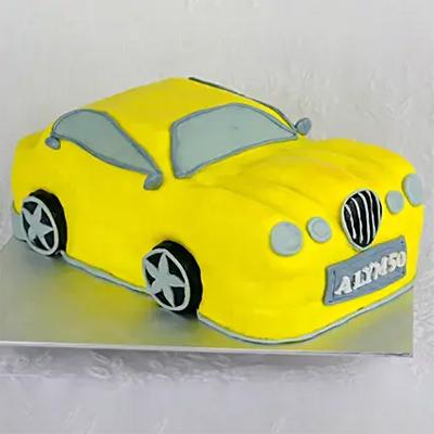 Yellow Car Truffle Fondant Cake
