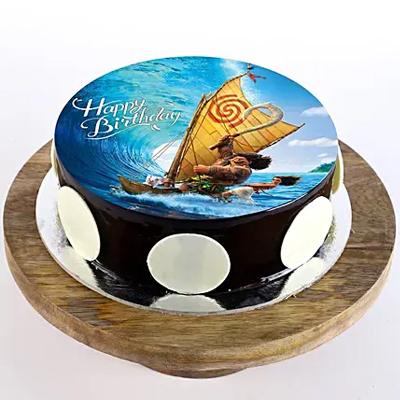 Maui & Moana Chocolate Photo Cake