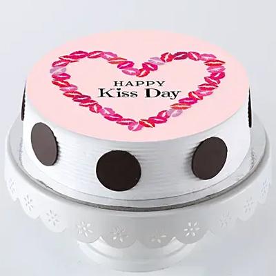 Kiss Day Photo Cake- Pineapple