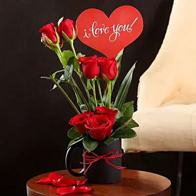 I Love You Red Rose Vase